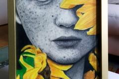 Portrait Sonnenblume mit Rahmen